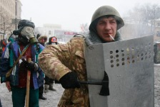 Pro-European protesters gather during clashes with riot police in Kiev